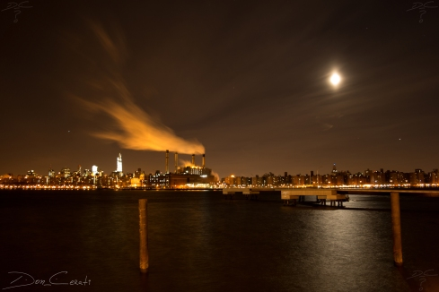 Misty Night By Transmitter Park in Greenpoint, Brooklyn, NY